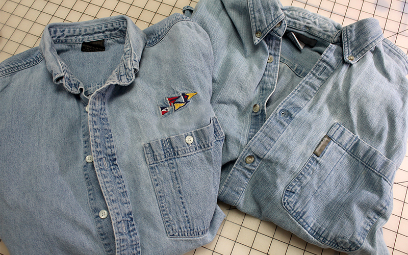 2 denim shirts