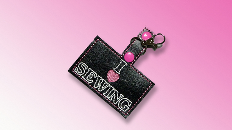 I Love Sewing Key Fob - Stitching Sewcial