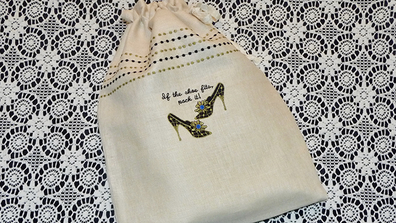 Foot of Month: Embroidered Shoe Bag with Decorative Stitches