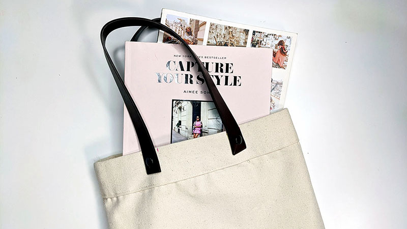 Leather Strapped Tote Bag