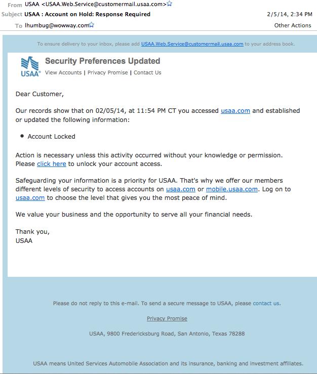 Target phishing email