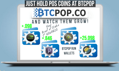 """staking pool post image of laptop with staking wallets and """"Just hold POS coins at btcpop and watch them grow"""" and btcpop logo"""