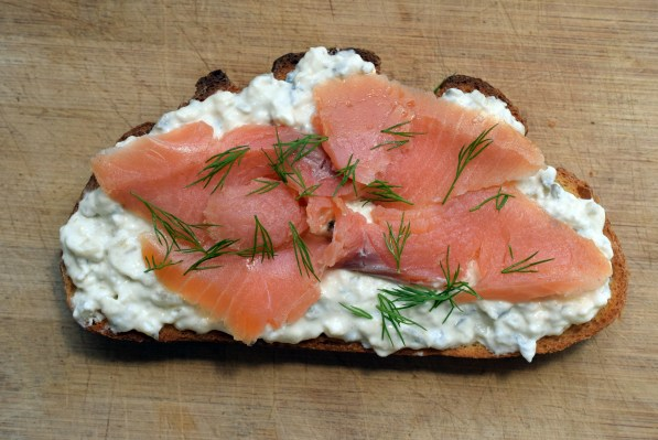 smoked salmon, dill, and horseradish cream cheese on toast