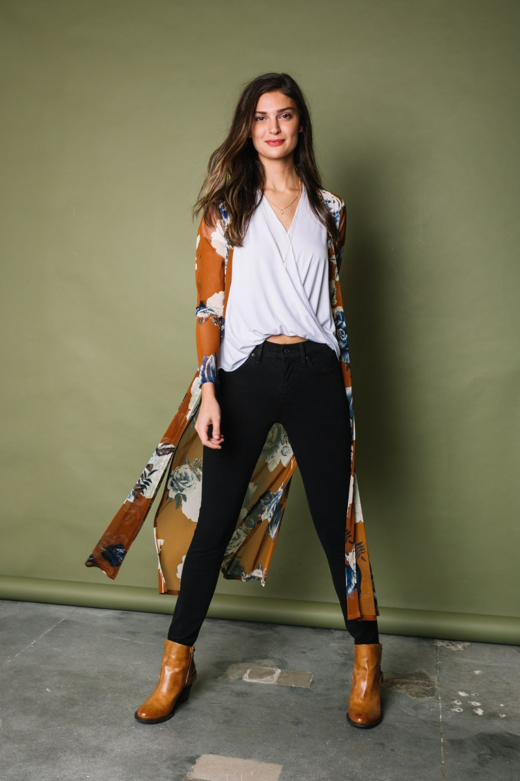 Women's Office Casual Outfit - Black Denim, White Blouse, and Booties from Buckle