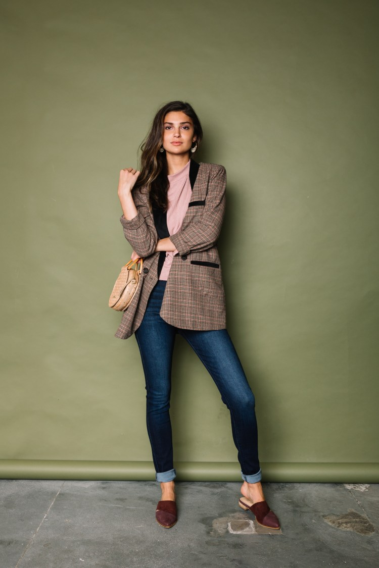 Women's Smart Casual Outfit - Plaid Blazer and Clean Denim from Buckle