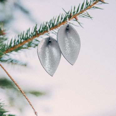 Women's Nichole Lewis Designs Silver Shimmer Leather Earrings