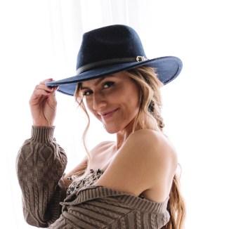 Olive & Pique Navy Felt Panama Hat