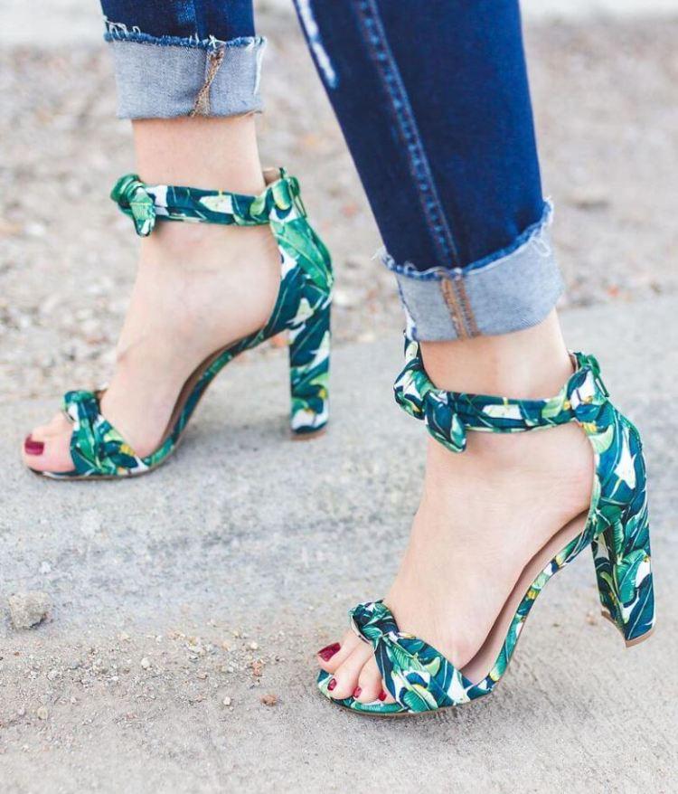 Women's Qupid Tropical Foliage Leaf Print Heels