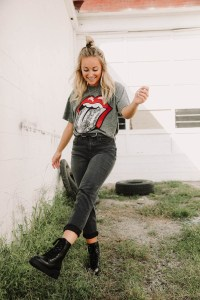 How to style black jeans - Women's Willow & Root Black Washed Distressed High Rise Mom Jeans, Rolling Stones T-Shirt, BKE Black Leather Belt, Steve Madden Black Leather Combat Boots