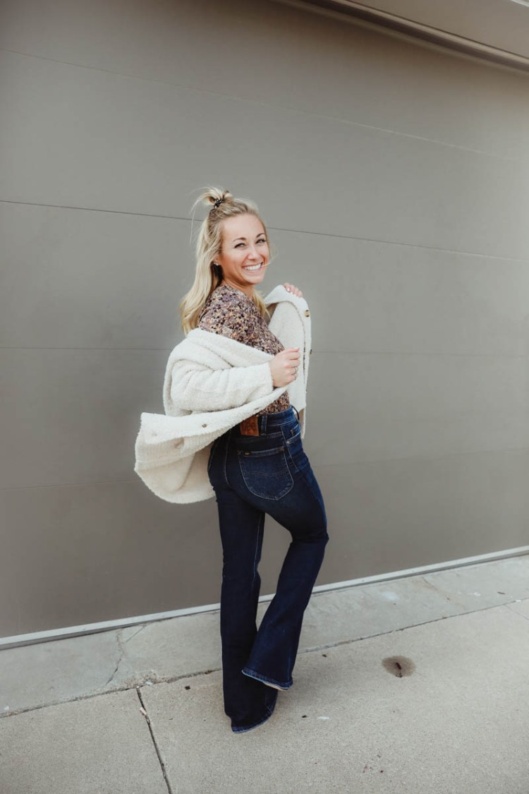 Women's Outfit For Fall - Gimmick Floral Print Top, Willow & Root Cardigan, Dark Wash Lee Bell Bottom Flare Jeans, Coconuts Block Heel Ankle Booties