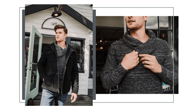 male model with sweater and jacket
