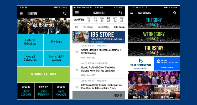 Three screenshots of the IBS 2020 mobile app on a phone.