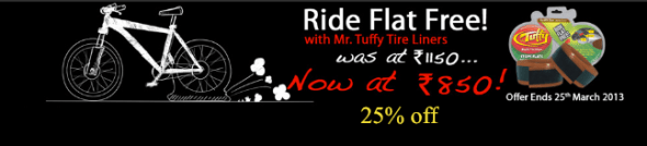 Good puncture protection - MTB tuffy tireliners at a great price at the BOTS Online Bike shop