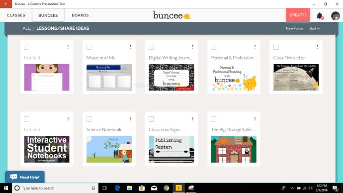 Buncee Progressive Web App (PWC) - Buncee Dashboard