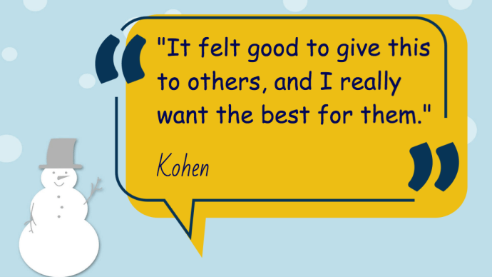 It felt good to give this others, and I really want the best for them-Kohen