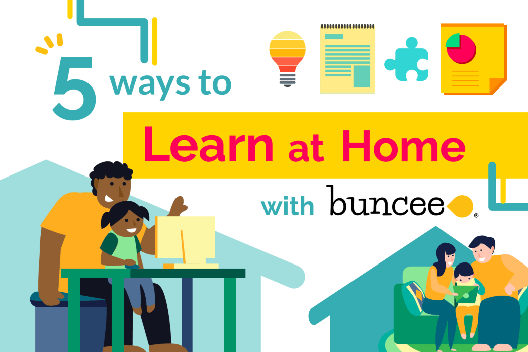 A banner showing the title of the article, 5 Ways to Learn at Home with Buncee