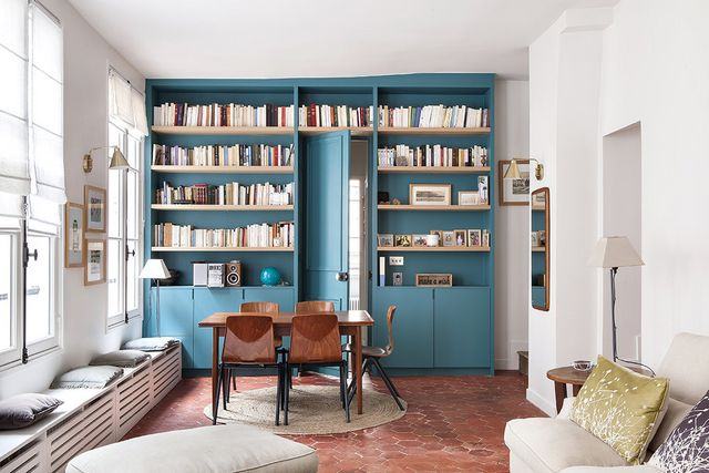 Turquoise Accent Bookshelves
