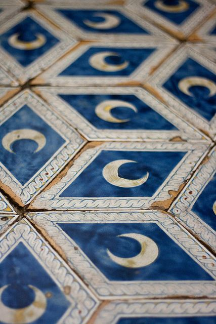 The floor of the Piccolomini Library in Siena's Duomo, Tuscany