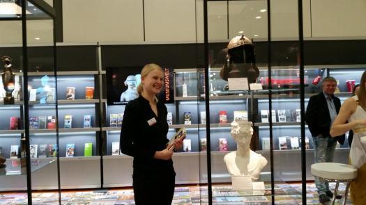 Franziska Engemann vom Museum Burg Posterstein am Stand der Museumswelt auf der Internationalen Tourismus-Börse in Berlin.