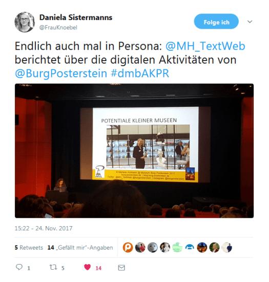 Tweet von Daniela Sistermanns, Martha Museum, zum Vortrag von Burg Posterstein.