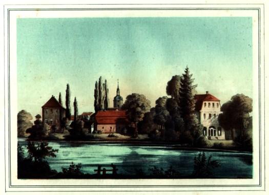 """Schloss und Herrenhaus Nöbdenitz - Hans Wilhelm von Thümmel legte hier einen weitläufigen englischen Garten an mit Bächlein und """"Einsiedeley"""" (Lithografie: Museum Burg Posterstein)."""