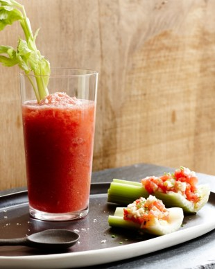 frozen bloody mary on plate with side dish