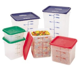 cambro containers with Blue, Green and Red lids
