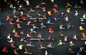 overhead shot of marathon