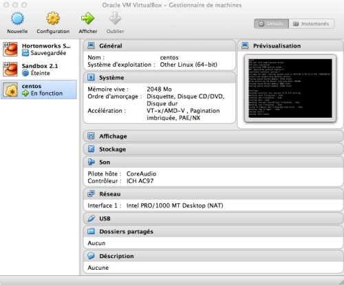 Tutoriel Hadoop 1 nœud sur Mac : paramétrage virtual machine