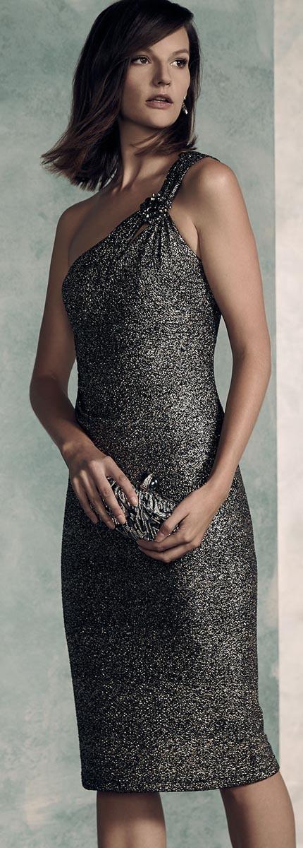 David Meister One-Shoulder Cocktail Dress