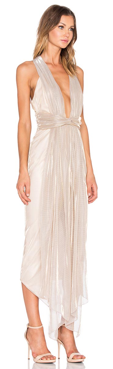 Shona Joy Plunged Dress in Gold-Silver