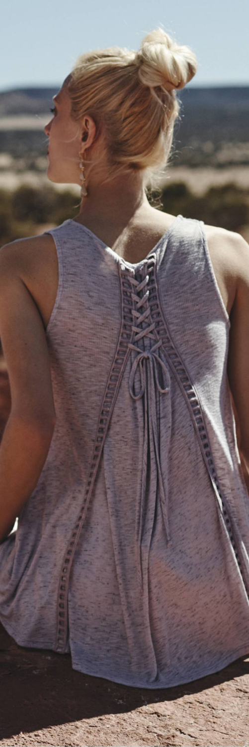 Anthropologie Lace Up Swing Tank