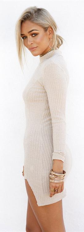 Crystal Ribbed Dress