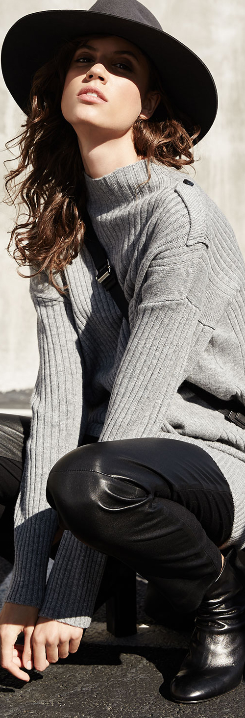 Rag & Bone Sweater & Leather Leggings Combination
