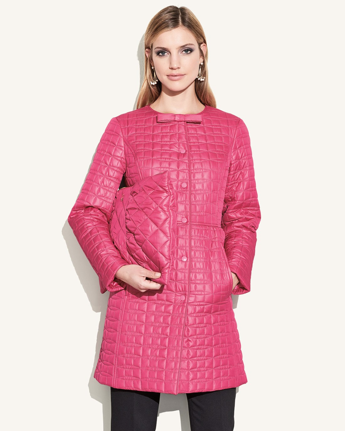 Kate Spade New York Long Quilted Snap Coat