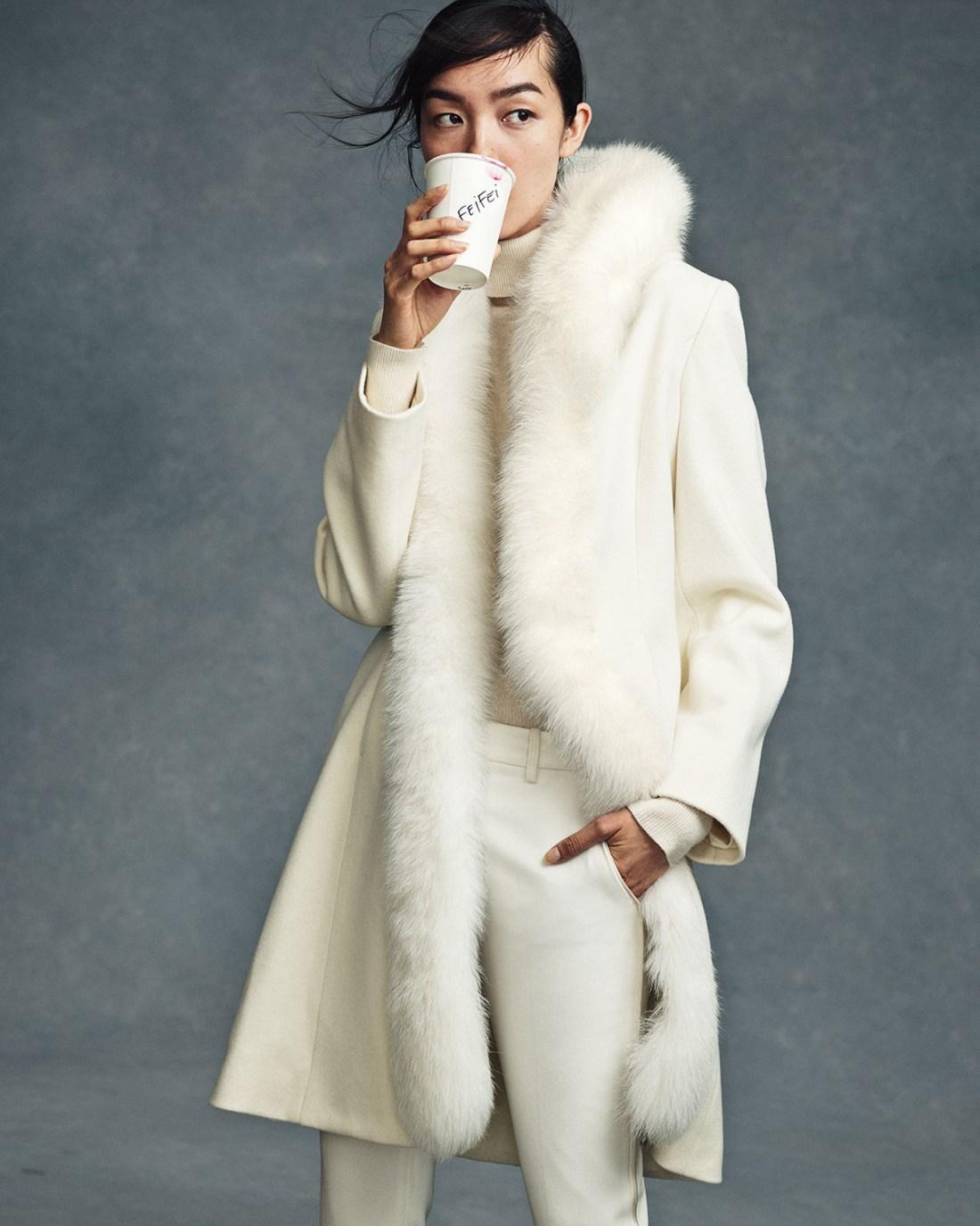 Sofia Cashmere Long Fur-Trimmed Wool Tuxedo Coat