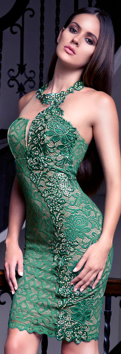 Baccio Couture Esther Green Party Dress