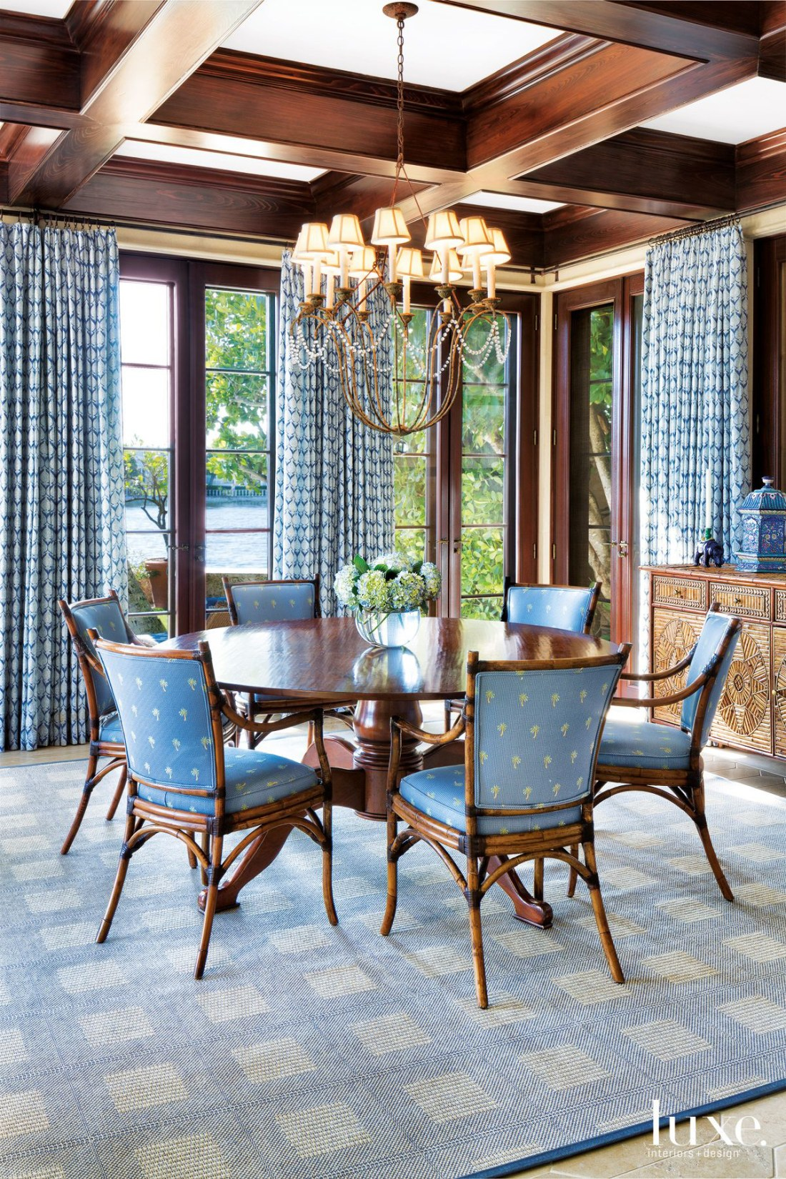 Traditional Blue Guesthouse Dining Room with Coffered Ceiling