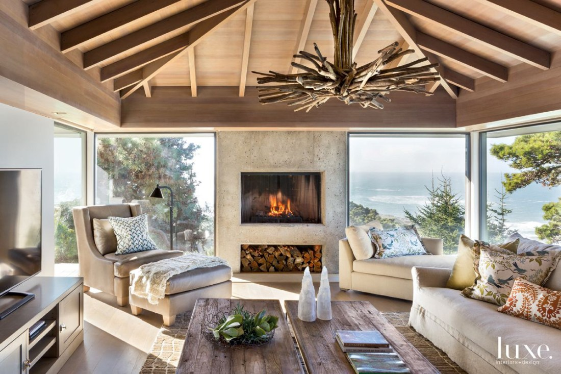 Contemporary Neutral Great Room with Concrete Fireplace