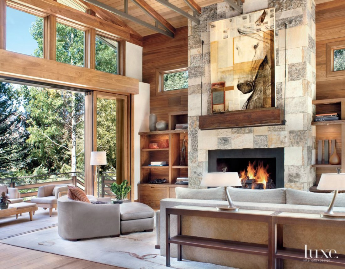 Neutral Mountain Living Room with Walnut Built-Ins