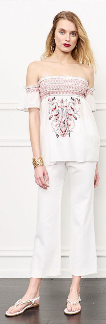 Rachel Zoe Carey Embroidered Off-The-Shoulder Top