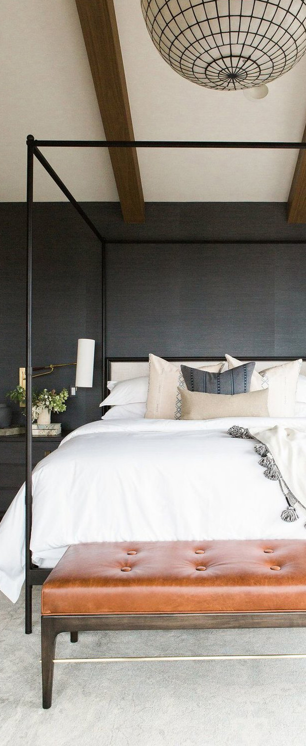 Master Bedroom with Grass Wallpaper, Statement Chandelier & Leather Bench | Studio McGee Design
