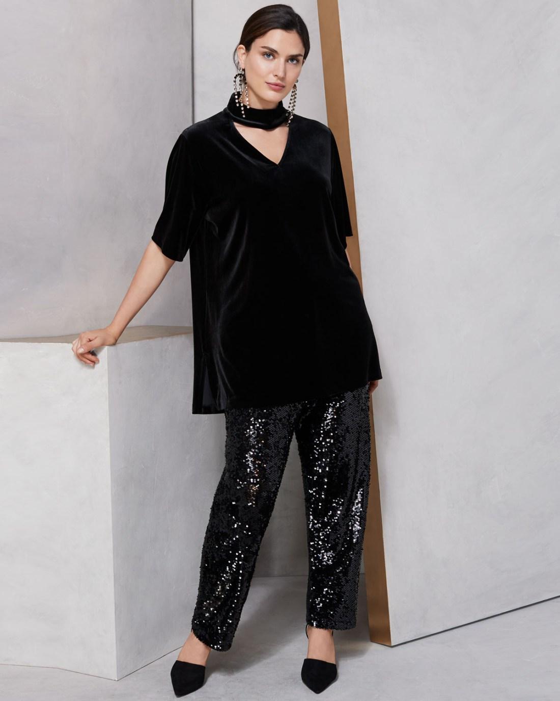 Joan Vass Velvet Choker Tunic & Slim Ankle Pants