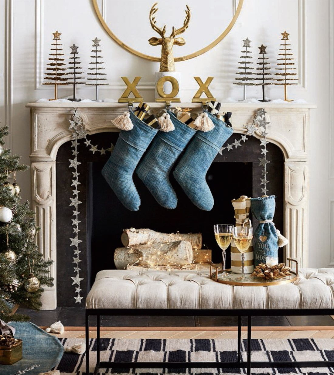 Denim Blue, Gold & Tan Christmas