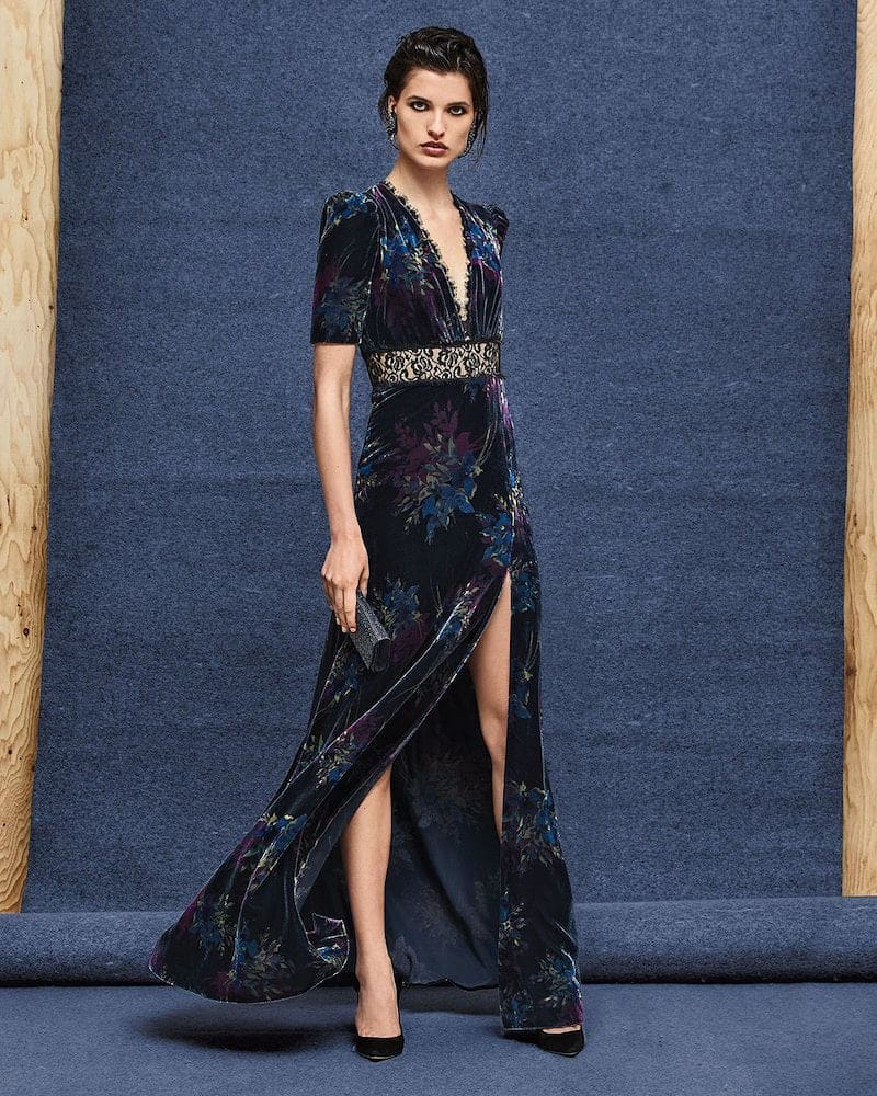 Jill Jill Stuart Floral Velvet Gown
