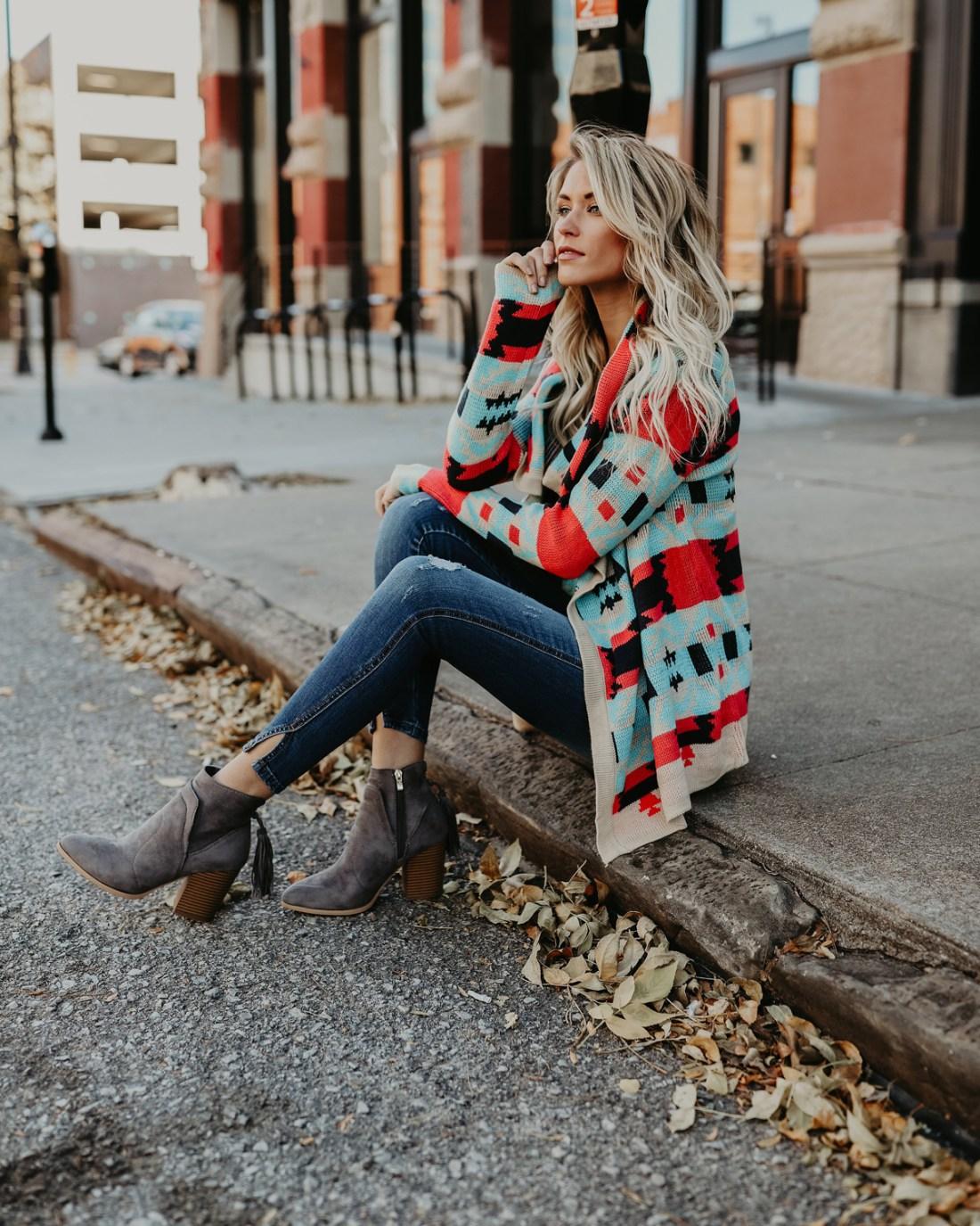 Fall Fashion | Open Collar Mulicolor Cardigan