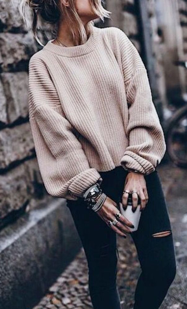Retro Knit Bishop Solid Sweater