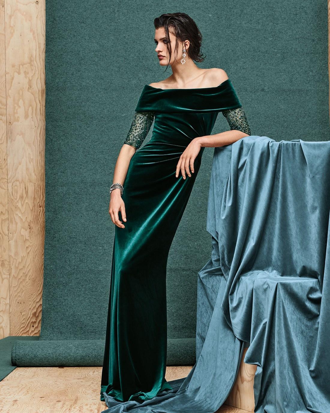 Ricki Freeman for Teri Jon Beaded-Sleeve Velvet Gown