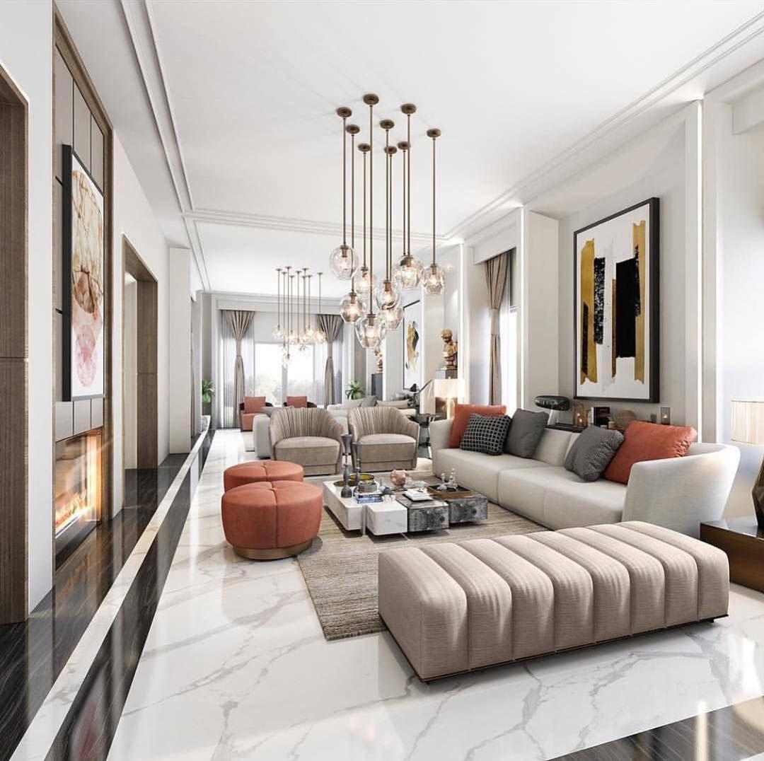 Modern Interior with Orange Accents