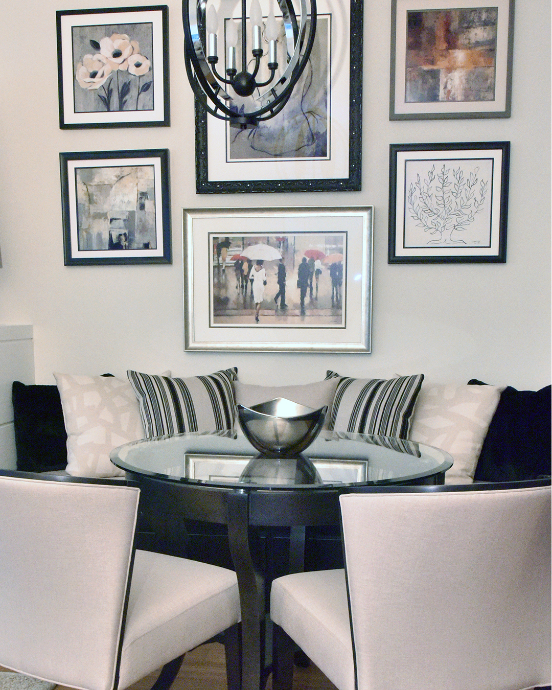 Banquette & Gallery Wall Design by Tracy Svendsen
